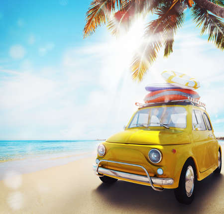 Start summertime vacation with an old car on the beach. 3d rendering Stok Fotoğraf