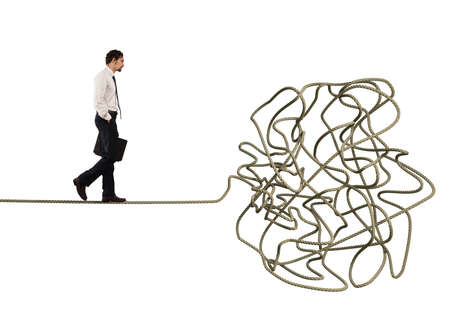 Problem and difficulty concept with tangled rope