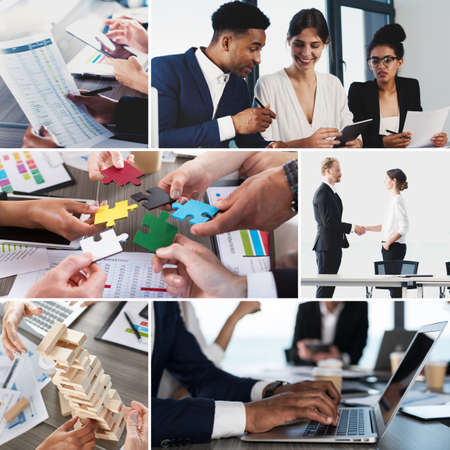 Business life collage. Concept of teamwork, partnership and startup Stock Photo