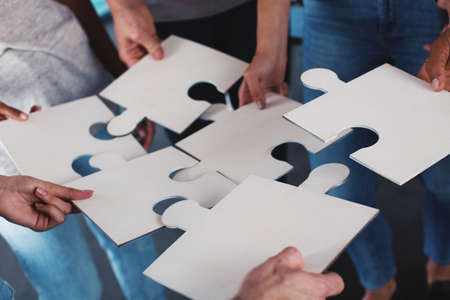 Team of businessmen work together for one goal with puzzles. Concept of unity and partnership Stock Photo