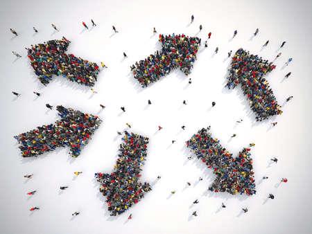 Die Menschen müssen die richtige Richtung wählen. Konzept der Verwirrung. 3D-Rendering Standard-Bild - 84561332