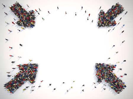 Flèches faites de personnes. Concept de publicité de personnes. Rendu 3D