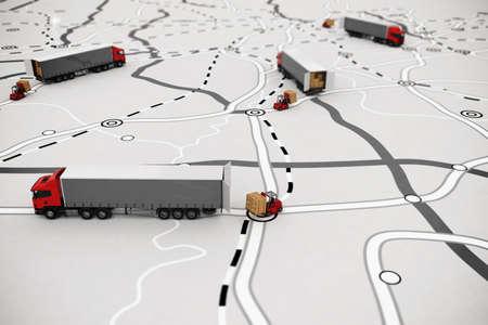 Caricamento e scarico di merci su una mappa. Rendering 3D