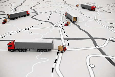 Loading and unloading goods on a map. 3D Rendering Zdjęcie Seryjne - 82670168