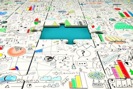 누락 된 퍼즐 조각. 비즈니스 문제 해결 개념