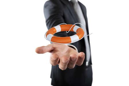 Geschäftsmann, der einen Rettungsring hält Konzept der Versicherung und Hilfe in Ihrem Unternehmen Standard-Bild - 82750308