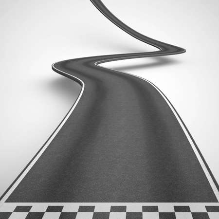 Winding road on white background rise up to reach the targets. 3D Rendering 版權商用圖片 - 83254256