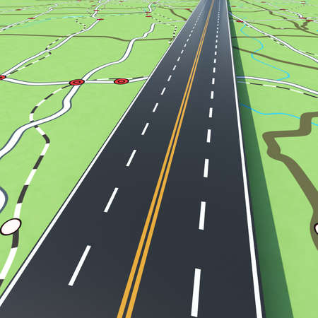 Road crosses the cities. Concept of infrastructure, road links, highway.3D Rendering