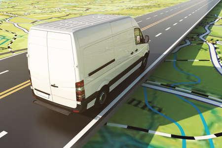 Il furgone delle consegne corre lungo l'autostrada su una cartina stradale. Rendering 3D Archivio Fotografico
