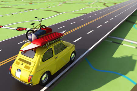 Car loaded with luggage on the road to summer vacation. 3D Rendering