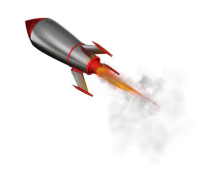 Raket die snel vliegt. 3D-weergave