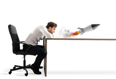 new: Startup of a new company with starting rocket. Concept of business growth