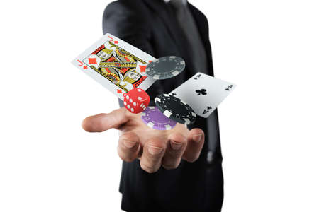 Rich Gambler makes his bet with chips Stock Photo