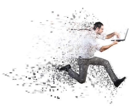 ビジネスマンを実行している高速のインターネット接続の概念 写真素材