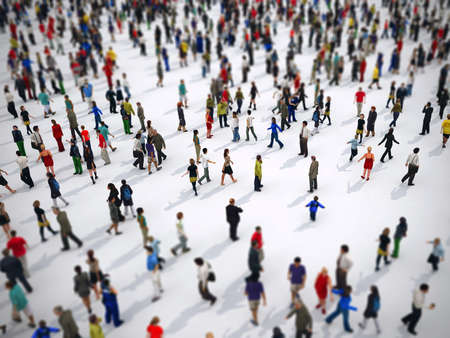 Tilt shift focus on a large group of people. 3D Rendering