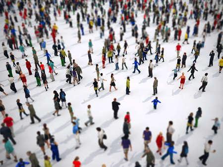 Tilt shift focus op een grote groep mensen. 3D-rendering