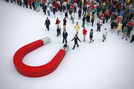 Magnes przyciąga ludzi ze stosu. Grafika trójwymiarowa Zdjęcie Seryjne