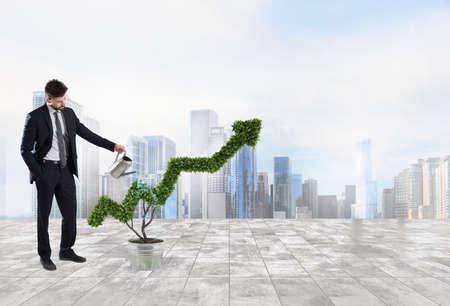 実業家、矢印の形をした植物に水をまきます。会社経済の成長の概念。 写真素材 - 85244940