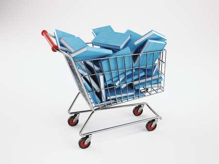 Shopping cart full of books. 3D Rendering