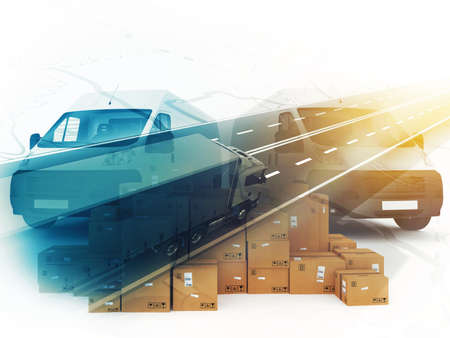 Concept of box distribution system. 3D Rendering Stock Photo