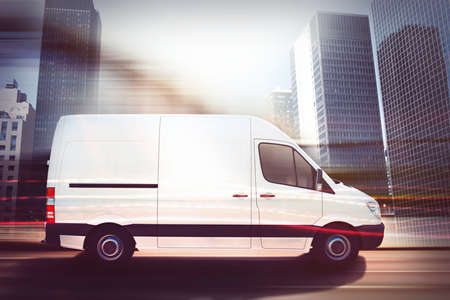 Fast van on a city road . 3D Rendering Stock Photo