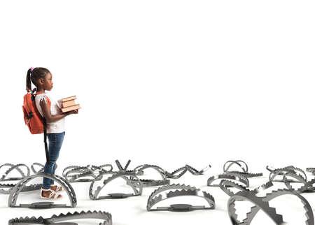 Jonge student loopt door de valkuilen Stockfoto