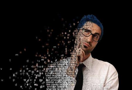 web: Digital man with code