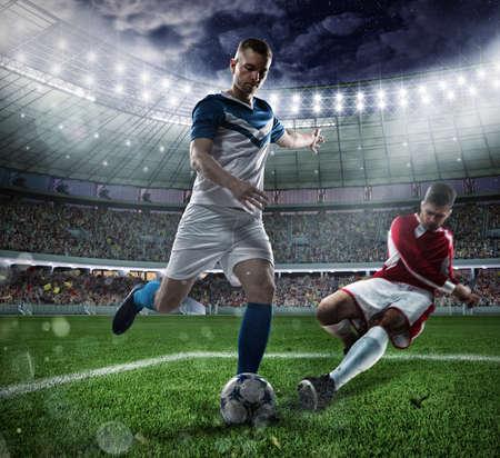 Voetbalscène met concurrerende voetbalsters bij het stadion