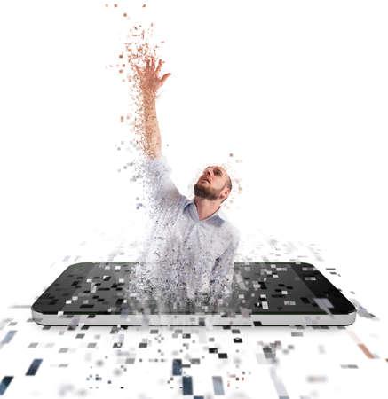 Captured businessman from internet technology. Concept of internet addiction