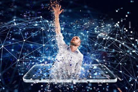 Homme d'affaires capturé de la technologie Internet. Concept de dépendance à Internet Banque d'images - 86735901