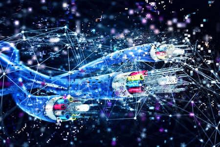 光ファイバーとの接続。高速インターネットの概念。3 d のレンダリング 写真素材
