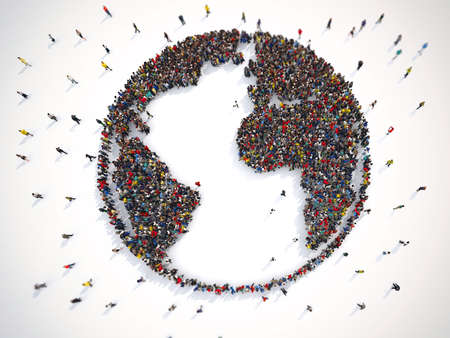 Many people together around the world. 3D Rendering Banco de Imagens