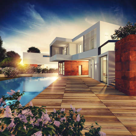 Proyecto de villa de lujo. Representación 3D Foto de archivo - 87341152