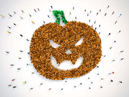 Many people together in a pumpkin shape. 3D Rendering Stock Photo
