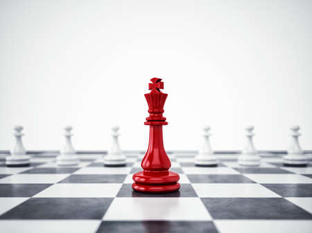 Red pawn ahead of white pawns. 3D Rendering Stock Photo - 89626534