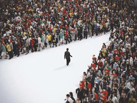 El hombre de negocios va en la dirección opuesta. Representación 3D