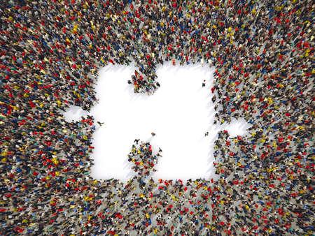 人々のグループは、パズルの一部を形成するために一緒に。3D レンダリング