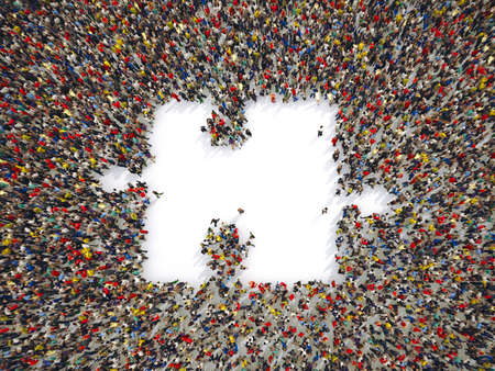 Groep van mensen samen vormen een stukje van de puzzel. 3D-weergave
