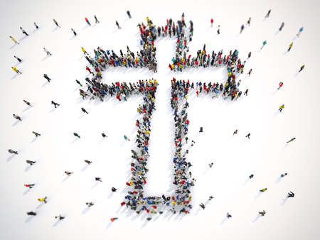 Many people together in a crucifix shape. 3D Rendering
