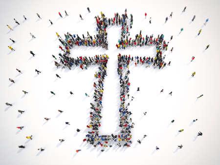 Viele Leute zusammen in einer Kruzifixform. 3D-Rendering Standard-Bild - 89498676