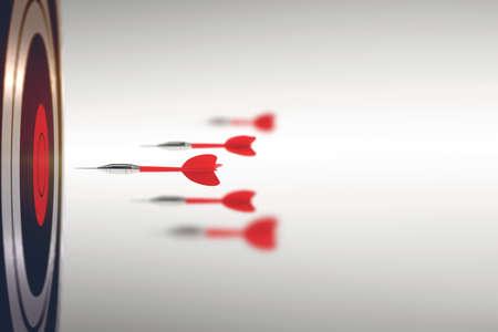 Darts gelanceerd met grote snelheid. Zakelijke concurrentieconcept. 3D-weergave Stockfoto