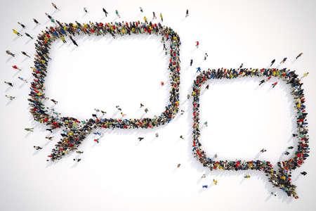 Wiele osób razem tworzy tekst bąbelków. Renderowanie 3D Zdjęcie Seryjne