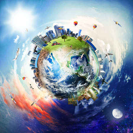 Vista global del mundo de los negocios. Mundo proporcionado por la NASA Foto de archivo - 89016581