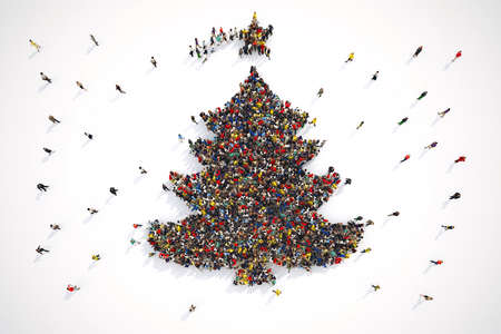 Aerial view of people forming the shape of a christmas tree. 3D Rendering Stok Fotoğraf - 89050596