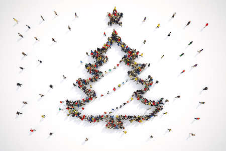 Aerial view of people forming the shape of a christmas tree. 3D Rendering Stok Fotoğraf - 89052361