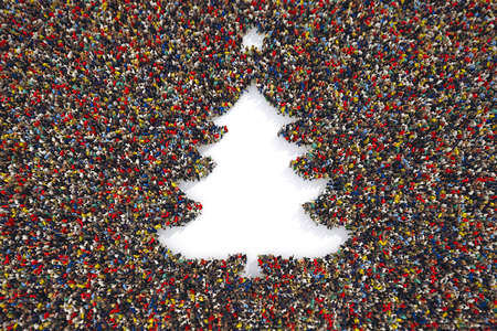 Aerial view of people forming the shape of a christmas tree. 3D Rendering