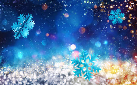Background of christmas decoration with sparkly silver crystal with shiny blue snowflake Stock Photo