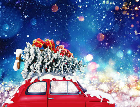 Vintage car with Christmas tree and presents with night light effect. 3d rendering Archivio Fotografico