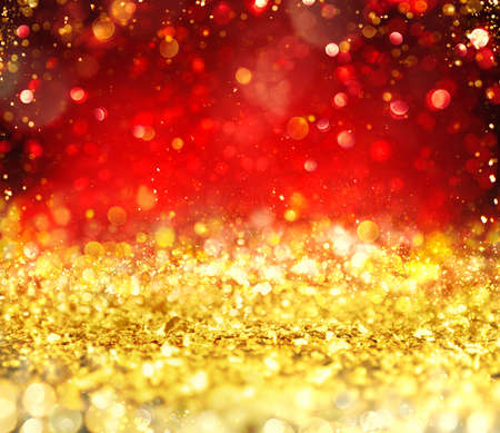 Christmas glowing gold and red background Stock Photo