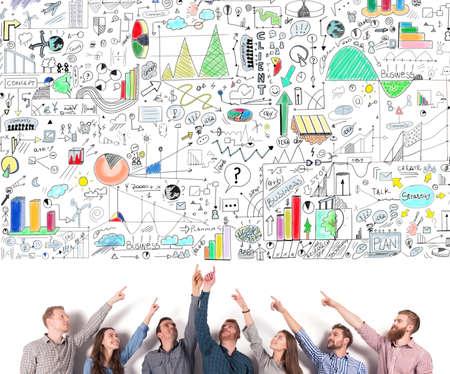 비즈니스 팀은 비즈니스 프로젝트를 나타냅니다. 창의적인 아이디어와 팀워크의 개념